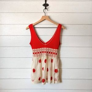 Free People Red Babydoll Sleeveless Top